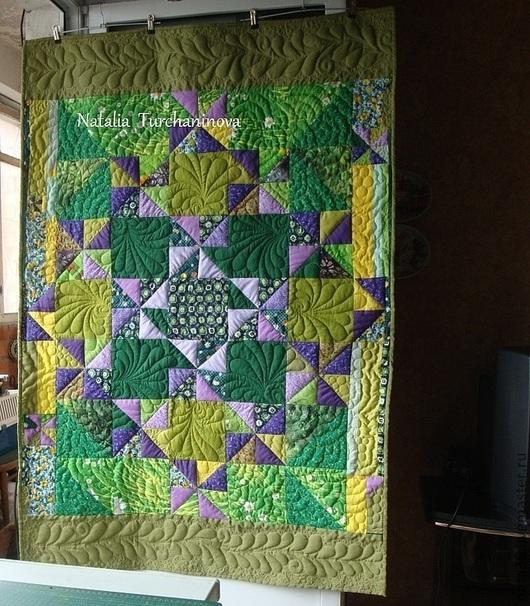 """Текстиль, ковры ручной работы. Ярмарка Мастеров - ручная работа. Купить Лоскутное покрывало """"  Lavender Dreams"""". Handmade. Зеленый"""