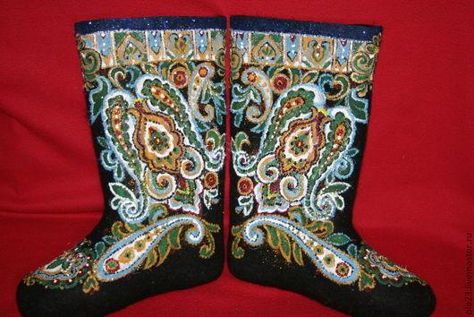 """Обувь ручной работы. Ярмарка Мастеров - ручная работа. Купить """"МОЗАИКА"""". Handmade. Черный, валенки с росписью, кавинова ольга"""