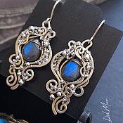 Украшения handmade. Livemaster - original item Earrings with a labradorite metal melchior stone