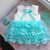 Работы для детей, ручной работы. Ярмарка Мастеров - ручная работа Мята нарядное платье для девочки. Handmade.