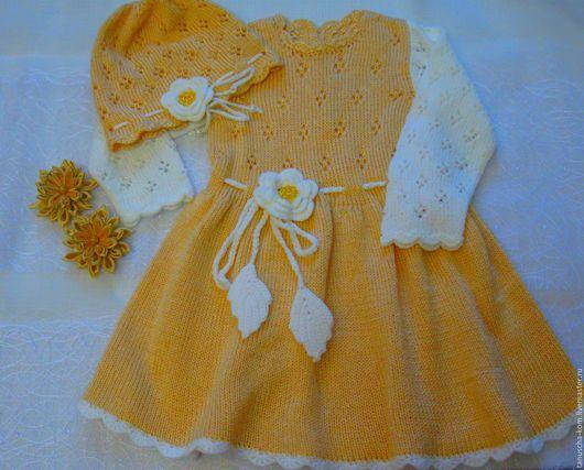 Одежда для девочек, ручной работы. Ярмарка Мастеров - ручная работа. Купить Платье  и шапочка для девочки спицами. Handmade. Желтый