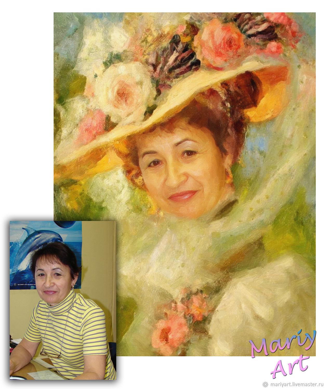 Портрет по фото Дама в шляпке с Цветами, Фотокартины, Москва,  Фото №1