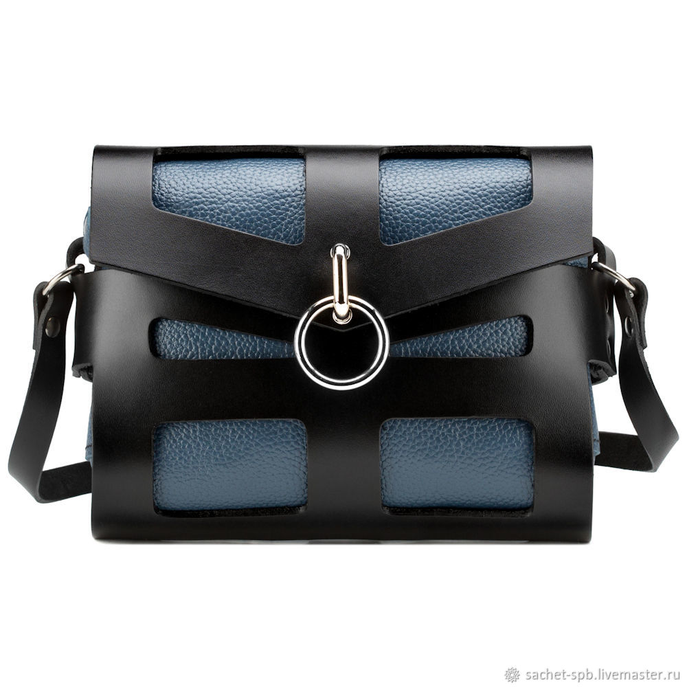 Women's leather bag 'Courtney' (blue and black), Crossbody bag, St. Petersburg,  Фото №1