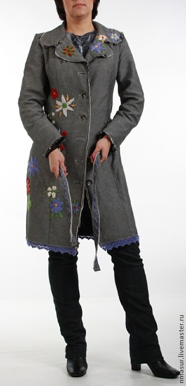 Grey denim boho coat with embroidery shop online on for Outer cloth