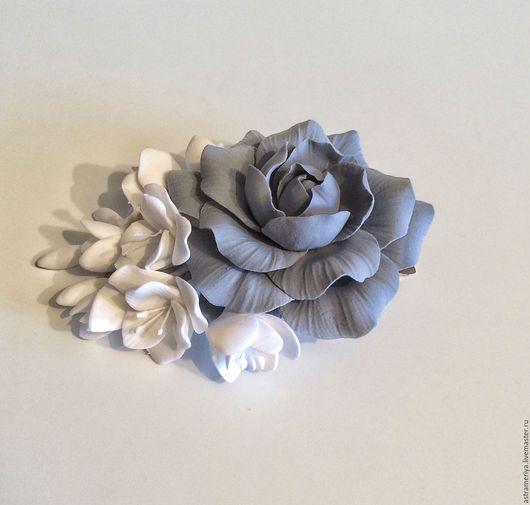 Заколки ручной работы. Ярмарка Мастеров - ручная работа. Купить Заколка для волос свадебная из полимерной глины. Handmade. Серый