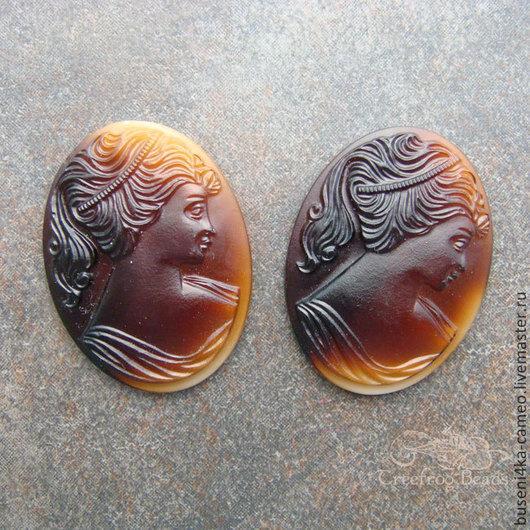 Для украшений ручной работы. Ярмарка Мастеров - ручная работа. Купить Камея Дама шоколадная 18х25мм (стекло) 1шт.. Handmade.