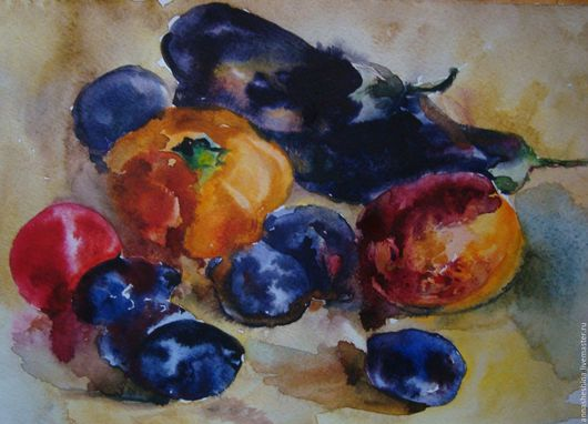Натюрморт ручной работы. Ярмарка Мастеров - ручная работа. Купить Осенний натюрморт. Handmade. Осень, овощи, фрукты, акварель
