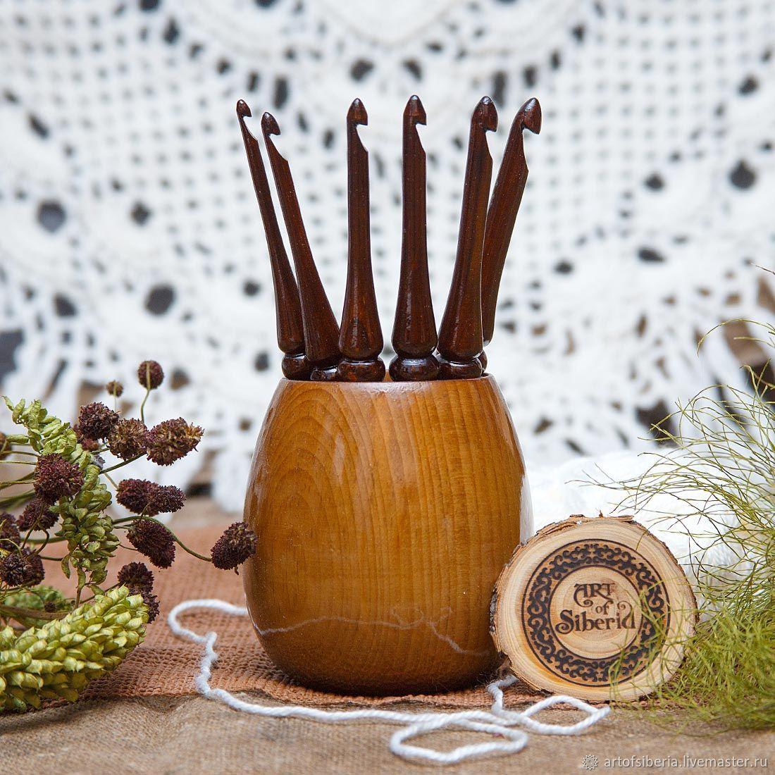 Crochet hooks (set of 6 PCs 4-9mm    vase) Siberian pine #KN4, Knitting tools, Novokuznetsk,  Фото №1