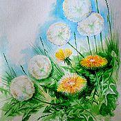 """Картины и панно ручной работы. Ярмарка Мастеров - ручная работа картина """"Одуванчики"""". Handmade."""