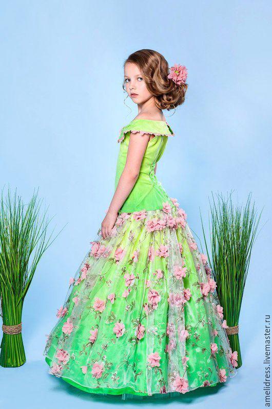 Одежда для девочек, ручной работы. Ярмарка Мастеров - ручная работа. Купить Весеннее платье. Handmade. Салатовый, красота, органза