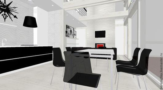 Гостиная-столовая в загородном доме в черном и белом. Эскиз. Вид столовой и гостиной.
