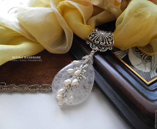 Кулон для шарфа Мороз и Солнце, кольцо бейл для платка, ollika handmade, ollika ольга дмитриева, авторская бижутерия