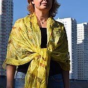 Аксессуары handmade. Livemaster - original item Yellow felted scarf Felted clothing boho style silk delicate stole. Handmade.