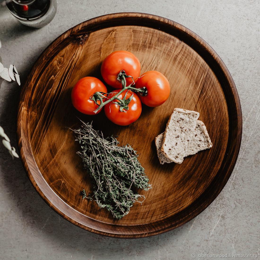 Wooden Round Serving tray (40#3, Trays, Novokuznetsk,  Фото №1