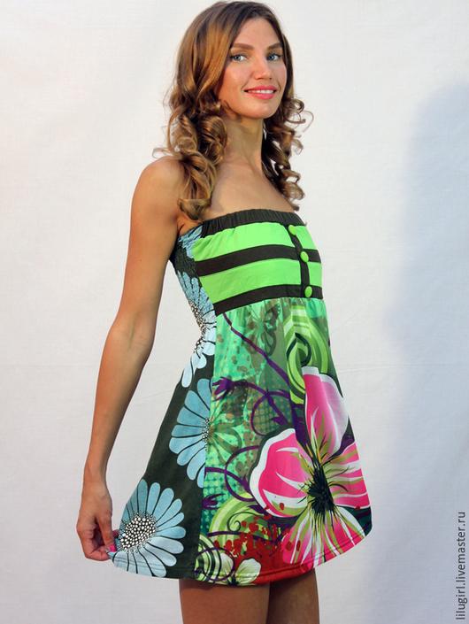 Платья ручной работы. Ярмарка Мастеров - ручная работа. Купить -53% SALE! Платье легкое без бретелек. Handmade. разноцветный