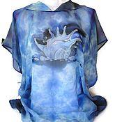 Одежда handmade. Livemaster - original item Batik Tunic with hood Shell. Handmade.