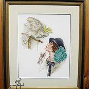 """Картины и панно ручной работы. Ярмарка Мастеров - ручная работа Картина вышивка крестом """"Дама с попугаем"""". Handmade."""