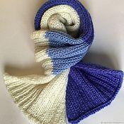 Аксессуары handmade. Livemaster - original item Knitted scarf for the spring (cashmere blue white blue). Handmade.