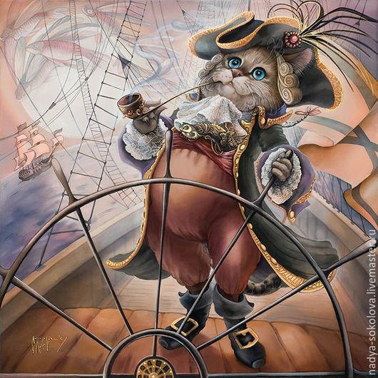 Фантазийные сюжеты ручной работы. Ярмарка Мастеров - ручная работа. Купить Хозяин морей. Handmade. Комбинированный, море, капитан, корабль