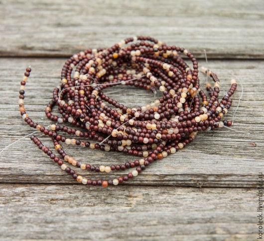 Для украшений ручной работы. Ярмарка Мастеров - ручная работа. Купить Яшма и кварц, микс из бусин-шариков 2,5 мм, нить. Handmade.