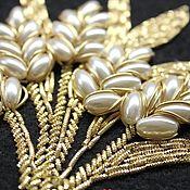 Украшения handmade. Livemaster - original item Embroidery gold thread Wheat. Handmade.