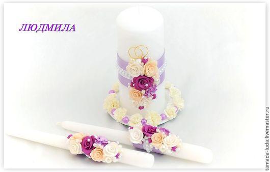 Свечи свадебные домашний очаг `Весенние цветы`(2) 2 родительские и   1 свеча для молодых