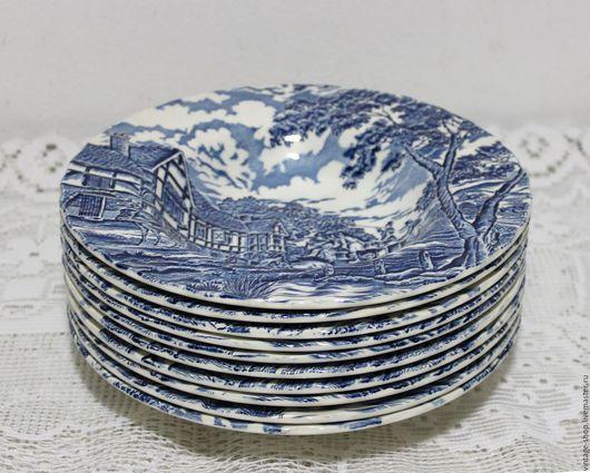 """Винтажная посуда. Ярмарка Мастеров - ручная работа. Купить Английские тарелки глубокие для супа """"Myott Royal mail"""". Handmade. Синий"""