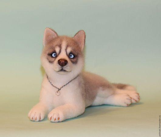 """Игрушки животные, ручной работы. Ярмарка Мастеров - ручная работа. Купить Войлочный щенок Хаски""""Анука"""". Handmade. Комбинированный, собака"""