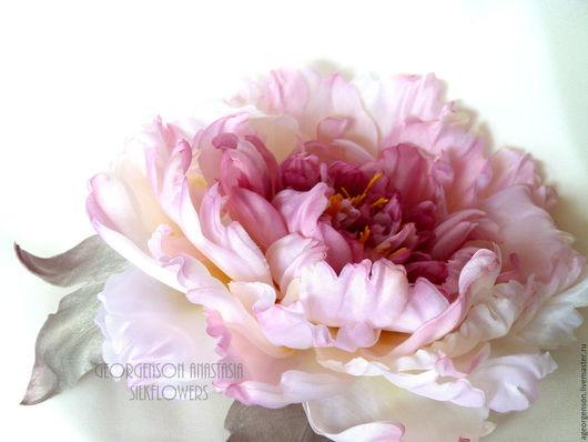 """Цветы ручной работы. Ярмарка Мастеров - ручная работа. Купить Заколка - брошь. Пион """"SilkFlowers"""". Handmade. Розовый, цветы в прическу"""