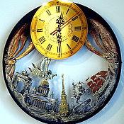 Часы классические ручной работы. Ярмарка Мастеров - ручная работа Красивые настенные часы Санкт-Петербург, необычные настенные часы. Handmade.