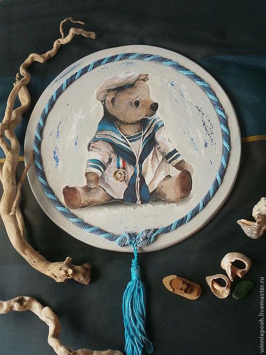 Животные ручной работы. Ярмарка Мастеров - ручная работа. Купить Панно Мишка-морячок. Handmade. Синий, панно на кухню, ребенок