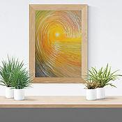 Картины ручной работы. Ярмарка Мастеров - ручная работа Золотая волна, картина маслом на холсте, морская волна картина. Handmade.
