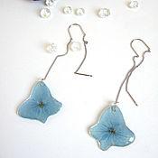 Украшения handmade. Livemaster - original item Broach Earrings Real Flowers Hydrangea Korean Accessories. Handmade.