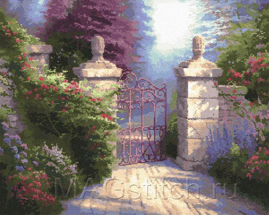 """Схема вышивки по картине Томаса Кинкейда """"The Open Gate"""""""