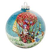 """Подарки к праздникам ручной работы. Ярмарка Мастеров - ручная работа Елочный шар """" Новогодний полет"""". Handmade."""