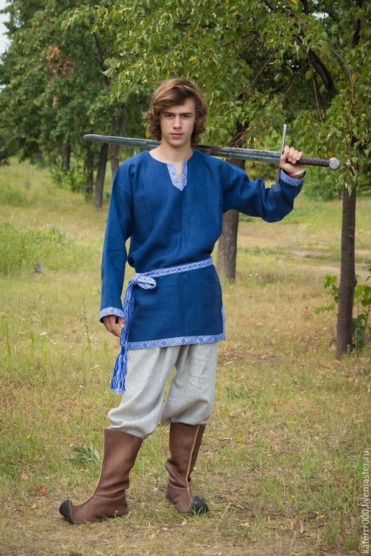 """Одежда ручной работы. Ярмарка Мастеров - ручная работа. Купить Рубаха """"Одолень-трава""""  синяя. Handmade. Синий"""
