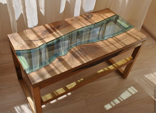 Мебель ручной работы. Ярмарка Мастеров - ручная работа. Купить Стол из ореха со стеклянной ставкой. Handmade. Стол из дерева
