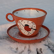 Чайные пары ручной работы. Ярмарка Мастеров - ручная работа Чайная пара Снегири. Handmade.