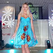 """Одежда ручной работы. Ярмарка Мастеров - ручная работа Вышитое платье """"Яркие тропики"""" шелковое очень яркое и красивое. Handmade."""