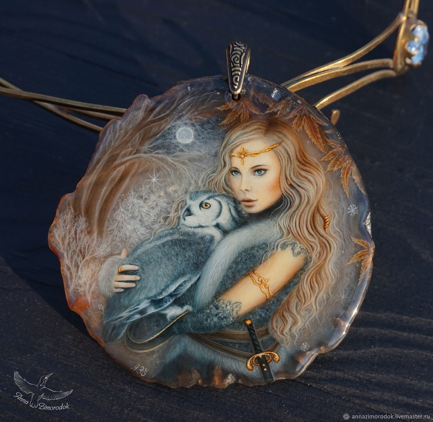 Pendant with painting lacquer miniature Queen with Owl winter night, Stones, Moscow,  Фото №1