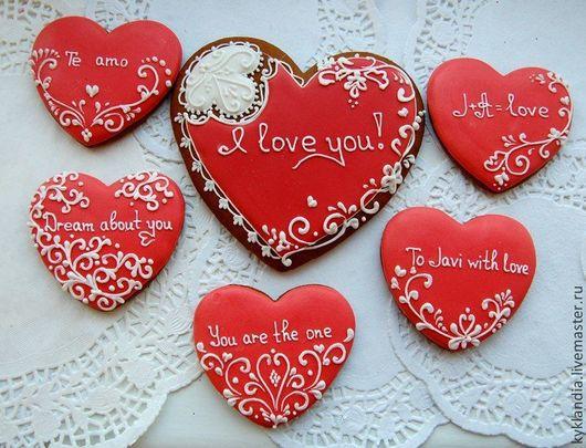 Подарки для влюбленных ручной работы. Ярмарка Мастеров - ручная работа. Купить Набор пряников-сердец для любимого. Handmade. Ярко-красный