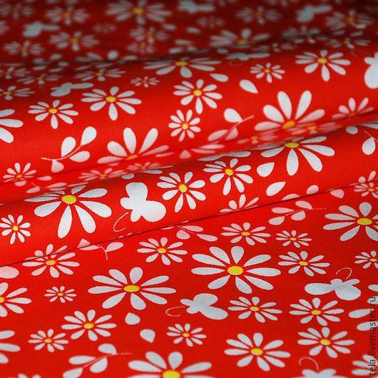 Ромашки на красном фоне. Хлопок 100%. Ткань для шитья, рукоделия.  Есть в наличии.