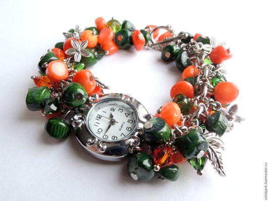 Часы ручной работы. Ярмарка Мастеров - ручная работа. Купить Часы женские наручные с браслетом «Любовь к трём апельсинам». Handmade.