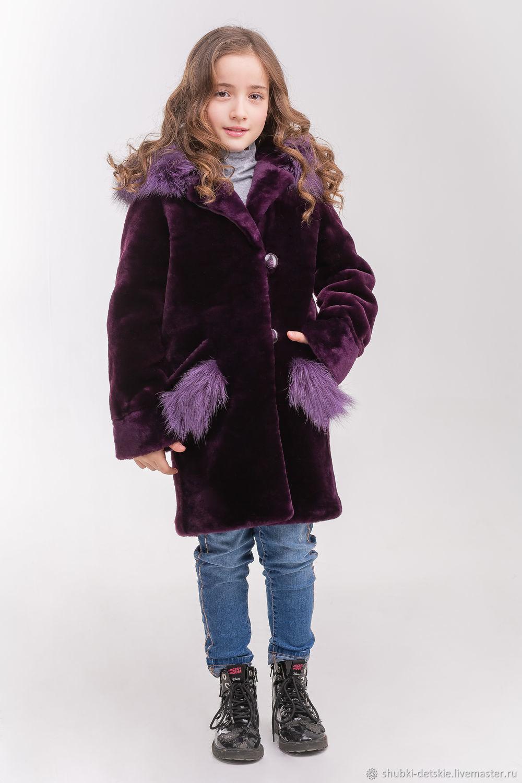 """Одежда для девочек, ручной работы. Ярмарка Мастеров - ручная работа. Купить Мутоновая детская шуба  """"Фиалка"""". Handmade. Для детей"""