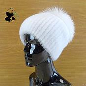 Аксессуары handmade. Livemaster - original item Luxury white women`s beanie fur Finnish mink. Art.DF-58. Handmade.
