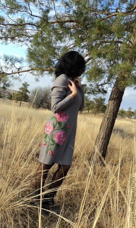 """Платья ручной работы. Ярмарка Мастеров - ручная работа. Купить платье """"Розовые розы"""". Handmade. Теплое платье"""