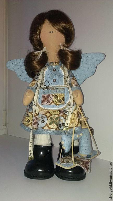 Коллекционные куклы ручной работы. Ярмарка Мастеров - ручная работа. Купить текстильная кукла-Швейный ангел Надин. Handmade. Голубой