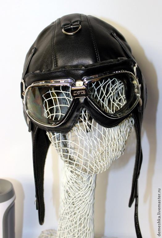 Шапки ручной работы. Ярмарка Мастеров - ручная работа. Купить Шлем Пилот (копия 1957 года). Handmade. Черный