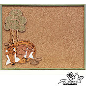 "Картины и панно handmade. Livemaster - original item Cork notes board ""Fox family"". Handmade."