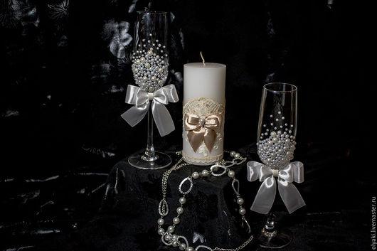 Свадебные аксессуары ручной работы. Ярмарка Мастеров - ручная работа. Купить Свадебные бокалы. Handmade. Белый, свадебные бокалы, жемчуг
